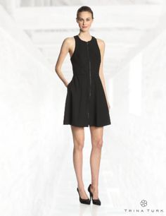 Trina Turk Women's Bishop Zip Front Fit and Flare Dress