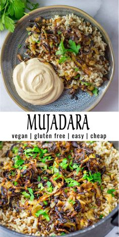 Mujadara (lentils and rice) – Simple and inexpensive: This mujadara is super easy to prepare with simple ingredients. Full – Mujadara (lentils and rice) – Simple and inexpensive: This mujadara is super easy to prepare with simple ingredients. Veggie Recipes, Indian Food Recipes, Whole Food Recipes, Diet Recipes, Vegetarian Recipes, Healthy Recipes, Recipes Dinner, Rice Vegan Recipes, Best Vegan Meals