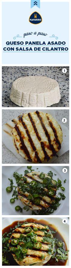 ¡La botana perfecta para tus reuniones! Queso Panela NAVARRO asado con salsa de cilantro. Lo mejor de esta receta es que está lista en 15 minutos. Los ingredientes que necesitas son 1 Queso Panela NAVARRO, 2 cucharadas de jugo de naranja, 2 cucharadas jugo de limón, 2 cucharadas de salsa de soya, 2 cucharadas de cilantro picado, 1 chile serrano en rodajitas. ¡Buen provecho!