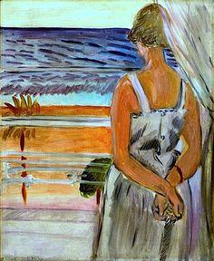Beside the Window Henri Matisse- escolhi esta imagem pois o pintor conseguio captar a calma da mulher a observar o mar