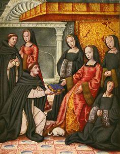 Anne de Bretagne receiving manuscript, by Jean Perréal, c. 1508. Musée Dobrée, Nantes, France.