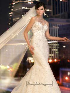 Spaghetti Staps Slim-line Beaded Lace Appliques Low Back Wedding Dresses