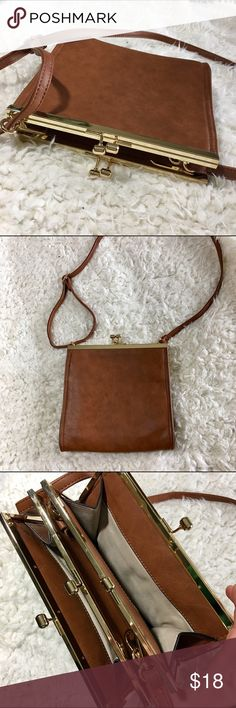 Brown Leather Crossbody Perfect condition. Brown with gold hardware. Bags