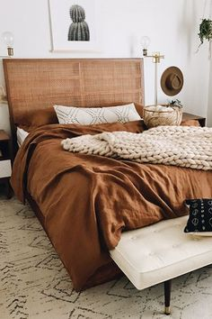 Add a boho vibe to your bedroom decor with linen bedding in a stylish cinnamon shade. Soft duvet cover, sheets and pillowcases available in various colors. Styling by: bedding: Bedroom Inspirations, Bedroom Styles, Fall Bedroom Decor, Bed, Bedroom Makeover, Home Decor, Home Bedroom, Room Inspiration, Apartment Decor