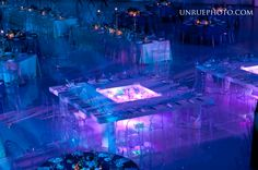 Check out this gorgeous custom table with central LED water feature used at Fantasy of Flight from On The Scene Chicago! What can you design for your event?