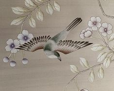 Handpainted & hand embroidered wallpaper & by chinoiseriehomedeco Chinoiserie Wallpaper, Oriental Design, Etsy Seller, Design Ideas, Exterior, Hand Painted, Embroidery, Interior Design, Nest Design