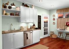 This is the project I created on Behr.com. I used these colors: UNWIND(GR-W05),FRESH DEW(M370-1),GLASS TILE(M400-2),MISCHIEVOUS(P400-1),ESTABLISH MINT(M400-1),AT EASE(S400-1),MAYFAIR WHITE(M390-1),