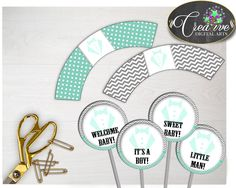 Shower Gentlemen Little Man Chevron Cupcake Decorations Cupcake Supplies CUPCAKE TOPPERS AND Wrappers, Party Plan - lm001 #babyshowerparty #babyshowerinvites