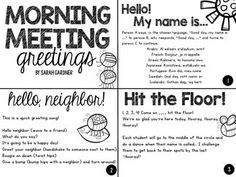 A Collection of FREE Morning Meeting Greetings & Activities by Sarah Gardner 2nd Grade Classroom, Classroom Behavior, Kindergarten Classroom, School Classroom, Classroom Management, Classroom Ideas, Classroom Meeting, Future Classroom, Kindergarten Songs