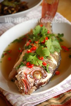 THAI LEMON FISH. It is very common to serve whole fish in most Asian countries. Love the seasonings that flavoring this dish