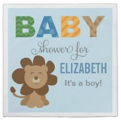 Cute baby lion baby shower napkin design. Polka dot and stripe pattern accents and custom text. Perfect for  a baby boy. These paper napkins that you can customize come in sets of 50 with great discount for multiple sets.