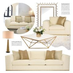 """Glamorous Living Room"" by kathykuohome ❤ liked on Polyvore featuring interior, interiors, interior design, home, home decor, interior decorating, living room, livingroom, gold and white"