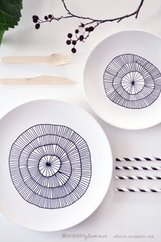 DIY - porcelain pen painted plates. I've repinned this diy a million different times but I love this design.