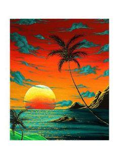 Abstract Surreal Tropical Coastal Art Original Painting Tropical Burn By Madart Painting - Abstract Surreal Tropical Coastal Art Original Painting Tropical Burn By Madart Fine Art Print Art Original, Original Paintings, Posca Art, Painting Prints, Art Prints, Painting Abstract, Hawaiian Art, Caribbean Art, Surf Art