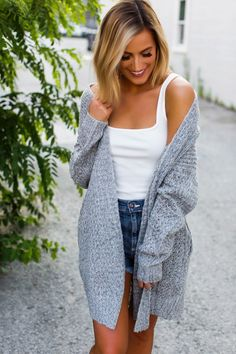 Ultra soft grey woven cardigan with long sleeves, side pockets, and open front. Fits true to size, the model is shown wearing a small. Made of poly/acrylic fabric. Dottie Couture Boutique, Dusters, Fall Clothes, Capes, Summer Time, Vests, Fall Outfits, Cardigans, Chic