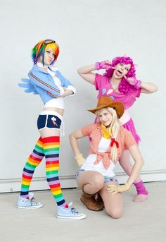 #cosplay #MLP #Rainbow Dash  These cuties are PERFECT! I love how each one is posing just like their character would, showing a great knowledge of who they are! I love that! :3