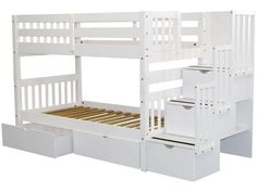 Stairway Twin over Twin Bunk Bed White with Drawers