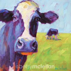 Cows • Giclee Print • Multiple Image Sizes Available    Make this a WOOD BLOCK PRINT: ... Betsy McLellan Studio.  Her style reminds me of the old paint by number kits we used to love as kids.  I admire her work