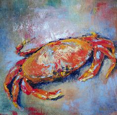 Crab painted with palette knife Crab Painting, Palette Knife, Ideas, Thoughts