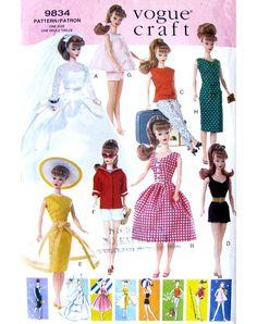 vintage patterns 11 1/2 fashion dolls | Vogue 9834 Vintage Barbie Doll Clothes Pattern UNCUT Original OOP 11 1 ...