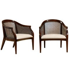 Pair of Tomlinson Cane Back Lounge/ Club Chairs- 4 Available   From a unique collection of antique and modern club chairs at http://www.1stdibs.com/furniture/seating/club-chairs/