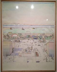 """Saul Steinberg, """"Looking West"""" (1986), crayon, graphite, and watercolor on paper, 70"""" x 53-1/2"""" (click to enlarge)"""