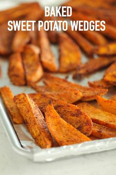 37 minutes · Vegan Gluten free Paleo · Serves 6 · These Baked Sweet Potato Wedges are perfectly crispy on the outside, soft on the inside and seasoned to perfection for plenty of flavor! Sweet Potato Wedges Oven, Oven Roasted Sweet Potatoes, Baked Sweet Potato Oven, Baking Sweet Potato, Sweet Potato Fries Healthy, Cooking Sweet Potatoes, Sweet Potato Recipes Healthy, Healthy Recipes, Chickpea Recipes