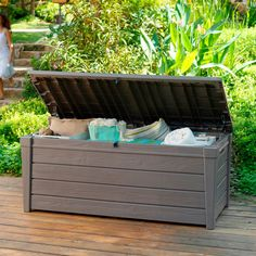 Keter Brightwood Resin 120 Gallon Outdoor Storage Deck Box, $179.99