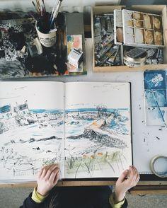 artist helen stephens' sketchbook and desk.