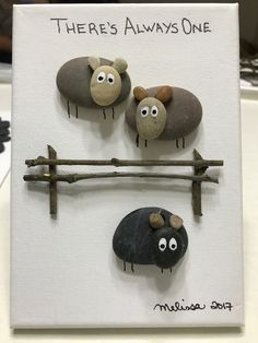Pebble art, rock art, black sheep, sheep, there's always one!