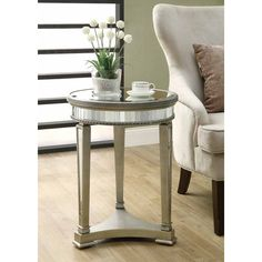 Monarch Specialties Inc. Mirrored End Table & Reviews | Wayfair