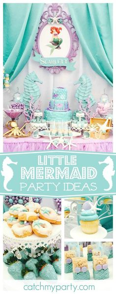 Don't miss this pretty Little Mermaid birthday party. The birthday cake & sweet treats are amazing!! See more party ideas and share yours at CatchMyParty.com