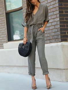 d60c145da5dc Army green Buttoned Casual Jumpsuit - JustFashionNow.com Casual Jumpsuit