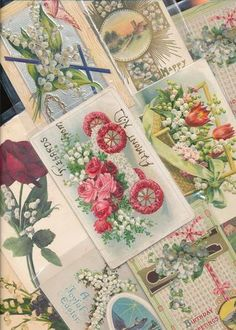 10 NICE LILY OF THE VALLEY Flowers Vintage Greetings Postcards Lot-aaa38
