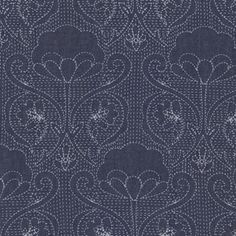 Art Gallery Fabrics - Denim Prints - Stitched Ochi in Indigo | Moss Mini