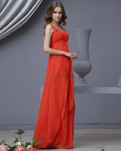 Split Front Chiffon Winter Apple Coral Mid Back Elegant & Luxurious Hourglass Accented Bow Evening Dress