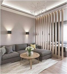 Innovative Living Room Divider Design For Small Space Ideas Living Room Grey, Living Room Modern, Living Room Bedroom, Living Room Decor, Bedroom Decor, Bedroom Sets, Small Living, Bedroom Furniture, Furniture Design