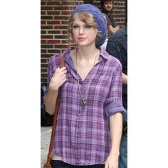 TAYLOR SWIFT Purple Plaid Anthropologie Top Anthropologie Clark Button-Up Shirt in purple. Originally $78. Very soft material. Anthropologie Tops