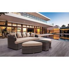 Give your outdoor space a touch of casual elegance with this ZUO Cove Beach 4-Piece All-Weather Wicker Patio Lounge Set with Beige Cushions.