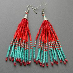 Turquoise and red  fringe earrings  beadwork by Anabel27shop,