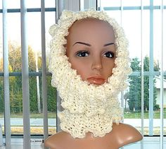 Items similar to SALE - Crocheted Cowl Hoodie - Reversable Soft Fluffy Cream and Soft Cream on Etsy Crochet Scarfs, Cowls, Hoodies, My Style, Creative, Handmade, Etsy, Vintage, Design