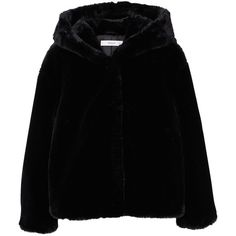 MANGO Faux fur hooded coat (30 KWD) ❤ liked on Polyvore featuring outerwear, coats, jackets, tops, black, fur-lined coats, hooded fur coats, faux fur hood coat, hooded coat and mango coats