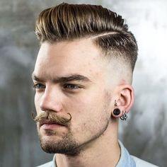 Slick hair + Fade + Waxed stache