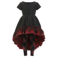 Junior Gaultier Black & Tartan Dress with Leggings 2 Piece Set at Childrensalon.com