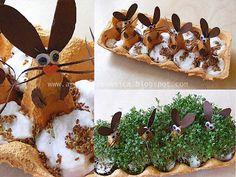 haasje in het (tuinkers) groen!haasje in het (tuinkers) groen!haasje in het (tuinkers) groen! Egg Carton Crafts, Egg Crafts, Bunny Crafts, Easter Crafts For Kids, Diy For Kids, Happy Easter, Easter Bunny, Easter Eggs, Glue Gun Crafts
