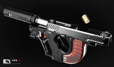 POTD: The AEROMECH APS-F1 Handgun System Concept -The Firearm Blog Sci Fi Weapons, Weapon Concept Art, Fantasy Weapons, Weapons Guns, Guns And Ammo, Fantasy Dagger, Zombie Weapons, Game Concept, Airsoft