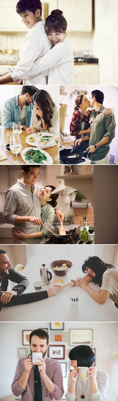 32 Sweet Home Engagement Photo Ideas for Couples - Cooking & Dining!