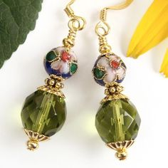 Cloisonne Floral Earrings with Green Czech Faceted Glass, Dangles | PrettyGonzo - Jewelry on ArtFire