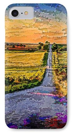 Kansas IPhone 7 Case featuring the photograph Country Road Da by Kevin Anderson A rural Kansas gravel road passes through a hilly pasture country during the last minutes of the evening. A digital art version of the photograph. The digital filter used is of my own settings to produce a vivid colored and textured image.