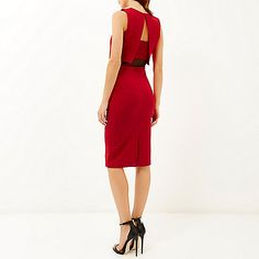 Red mesh panel 2-in-1 bodycon dress - bodycon dresses - dresses - women